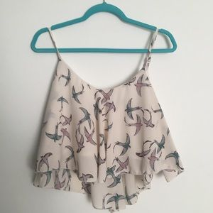Cropped bird adjustable blouse top